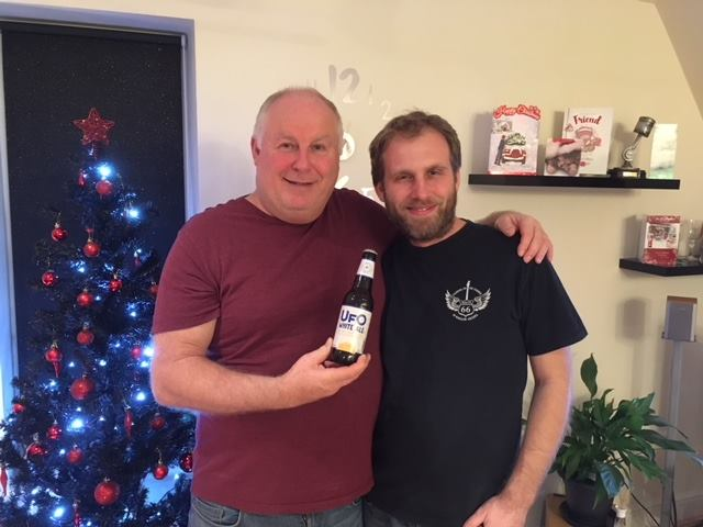 Photo of Tony & Shaun with the UFO beer